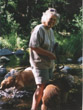 Kathleen in Oak Creek Canyon with Goldens